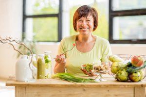 woman eating a salad